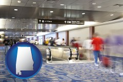 al map icon and an airport people mover, with motion blur