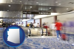 arizona map icon and an airport people mover, with motion blur
