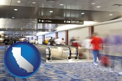 ca map icon and an airport people mover, with motion blur