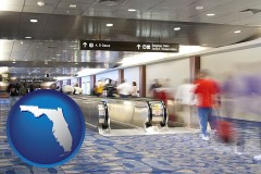 fl map icon and an airport people mover, with motion blur