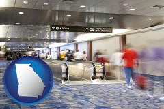 georgia map icon and an airport people mover, with motion blur