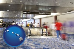 hawaii map icon and an airport people mover, with motion blur