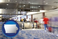 iowa map icon and an airport people mover, with motion blur