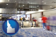 id map icon and an airport people mover, with motion blur