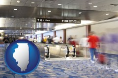 illinois map icon and an airport people mover, with motion blur