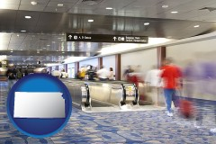 kansas map icon and an airport people mover, with motion blur