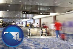 md map icon and an airport people mover, with motion blur