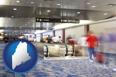 maine map icon and an airport people mover, with motion blur