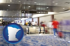 minnesota map icon and an airport people mover, with motion blur