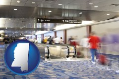 ms map icon and an airport people mover, with motion blur
