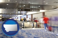 mt map icon and an airport people mover, with motion blur