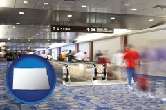 nd map icon and an airport people mover, with motion blur