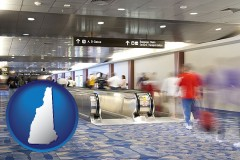 nh map icon and an airport people mover, with motion blur