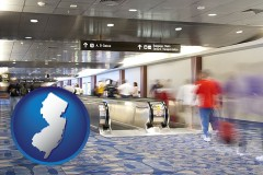 nj map icon and an airport people mover, with motion blur