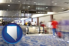 nv map icon and an airport people mover, with motion blur