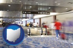 oh map icon and an airport people mover, with motion blur