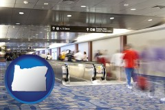 or map icon and an airport people mover, with motion blur