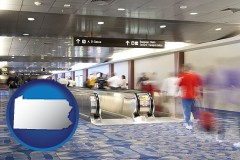 pa map icon and an airport people mover, with motion blur