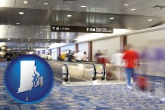 ri map icon and an airport people mover, with motion blur