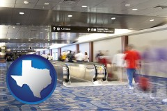 tx map icon and an airport people mover, with motion blur