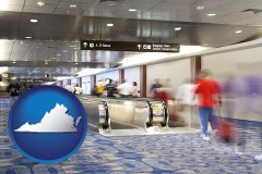 virginia map icon and an airport people mover, with motion blur