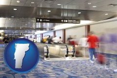 vermont map icon and an airport people mover, with motion blur