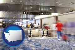washington map icon and an airport people mover, with motion blur
