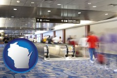 wi map icon and an airport people mover, with motion blur