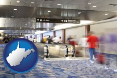 wv map icon and an airport people mover, with motion blur