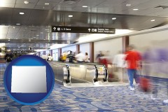 wy map icon and an airport people mover, with motion blur