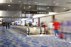 an airport people mover, with motion blur