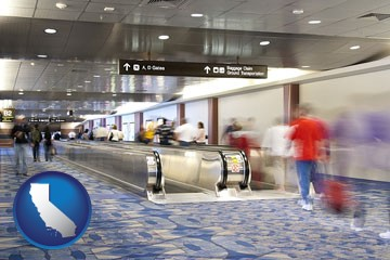 an airport people mover, with motion blur - with California icon
