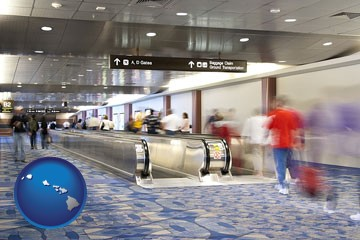 an airport people mover, with motion blur - with Hawaii icon