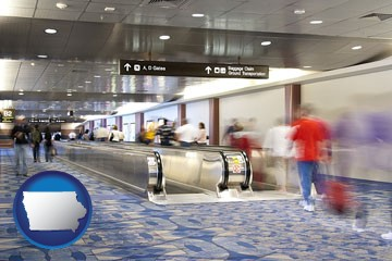 an airport people mover, with motion blur - with Iowa icon