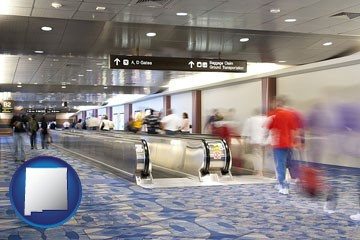 an airport people mover, with motion blur - with New Mexico icon