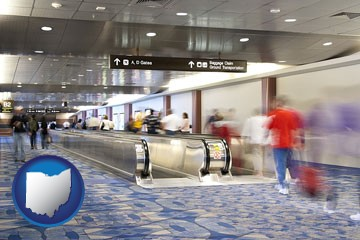 an airport people mover, with motion blur - with Ohio icon
