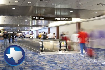 an airport people mover, with motion blur - with Texas icon