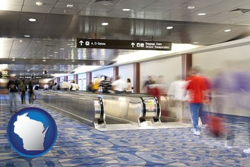 an airport people mover, with motion blur - with Wisconsin icon